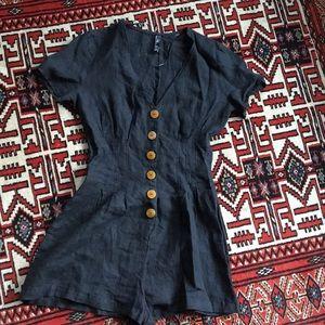 Zara trf XS Black Linen Romper